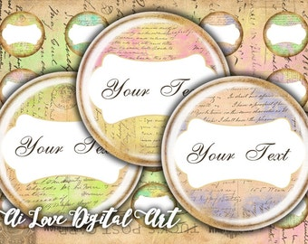 Instant download, Old Letters, digital collage sheet, editable bottle cap images, 1 inch circle digital download cabochon, jewelry making