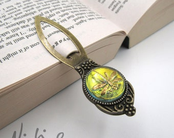 BEST Seller - Delicate Hand Painted Dragonfly Pale Amber Iridescent Blue Green Czech Glass Antique Bronze Bookmark