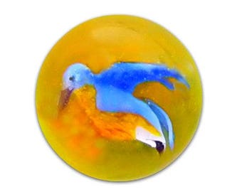 BLUE BIRD - Diminutive Glass Paperweight Button by Mary Gaumond