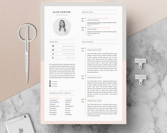 "Modern Resume Template & Cover Letter + Icon Set for Microsoft Word | 4 Page Pack | Professional CV | Instant Download | The ""Scandi"""
