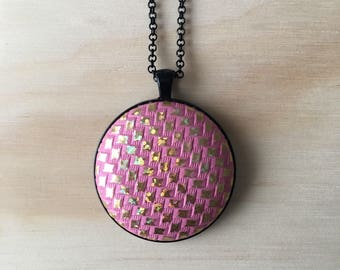 38mm Pink amd Gold Diamond Faux Leather Fabric Button Pendant Necklace • 76cm Black Rolo Chain with Lobster Clasp • Nickel Free