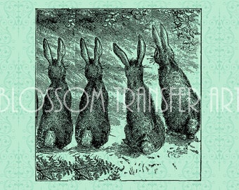 Rabbit Images - Little Rabbits - Digital Graphics - Iron on burlap - Transfer to fabric - Download for papercrafts, invitations - DIY - 1696