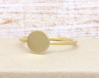 Full Moon Ring , Circle Ring, Disk Ring, Gift for Her, Birthday present, Initial Ring  (R_00030)