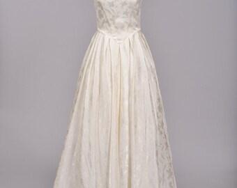 1970 Satin Damask Vintage Wedding Gown