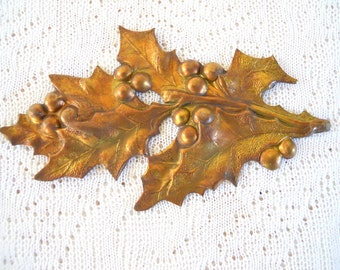 Vintage Brass Holly Leaf Berry Stamping