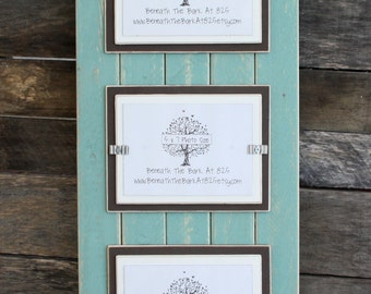 Picture Frame - Distressed Wood - Holds 3 - 5x7 Photos - Beach Teal, Chocolate Brown & White
