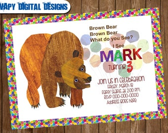 Eric carle invitations etsy brown bear digital party invitation customize invite birthday thank you card filmwisefo Choice Image