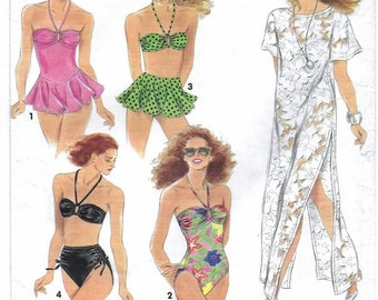 """A 1- and 2-Piece Swimsuits and Cover-Up Sewing Pattern for Women: Sizes 10-12-14-16, Bust 32-1/2""""-38"""" • Simplicity 7837"""