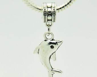 Silver Whale Bracelet Charm, European Bracelet Bead, Whale Charm.