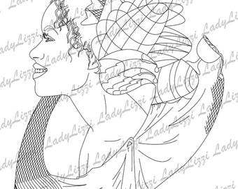Coloring Page - Curly Haired Woman's Profile, PDF