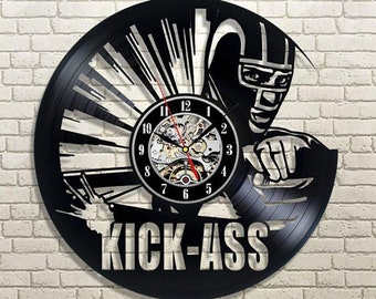 Kick Ass Wall Clock Modern, Comics Vinyl Wall Clock, Kick Ass Gift, Wall Clock Vintage, Gift Idea, Vinyl Record Clock