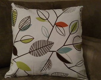 Retro Colorful Leaves, Carson Covington Fiesta, Decorative Pillow Cover, Couch Pillow Cover, Throw Pillows