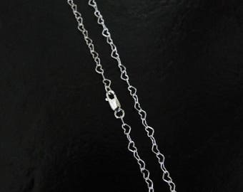 20 Inch - 925 Sterling Silver 3mm Heart Chain - Custom Lengths Available, Made in USA