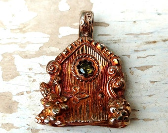 Fine Silver Fairy Door pendant, Hobbit house garden 99.9% pure handcrafted Artisan jewelry.