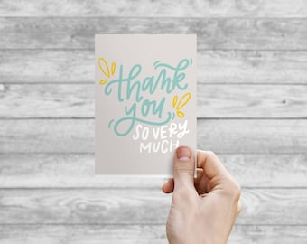 Greeting Card - Thank You So Much | Hand Lettering, Thank You Card, Wedding Card, Wedding Shower Card, Anniversary Card
