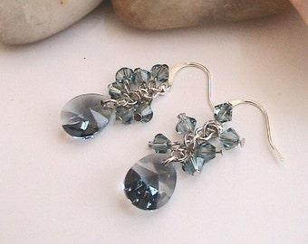 Rauchiges Blau Swarovski Kristall Ohrringe, blau, Ohrringe, Blau Swarovski Ohrringe, Ohrringe in blau, Hochzeit, Brautschmuck, Brautjungfern