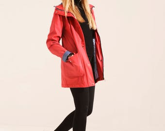 Charcoal Fashion Women's Red Water Resistant Rubber Rain Coat (02S17)