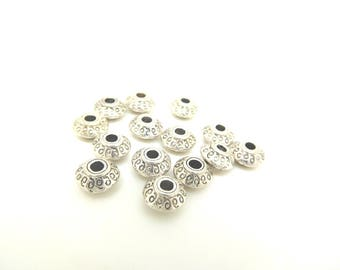 10 spacer beads form bicone silver-plated 7x7mm