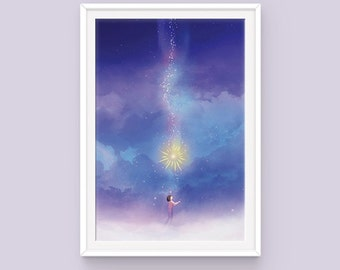 "Studio Ghibli Howl's Moving Castle Poster: Falling Star, Young Howl, Calcifer, Hayao Miyazaki, Howl Poster, Calcifer and Howl, 11"" x 17"""