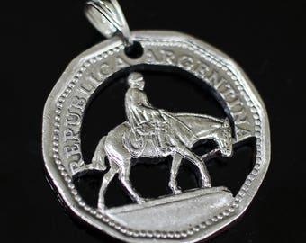 Argentina 10 pesos cut coin pendant with necklace El Gaucho Resero horse Buenos Aires