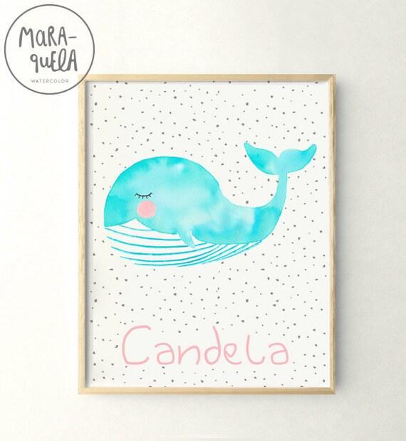 Lámina Ballena / Watercolor Whale print