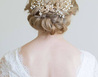 Gold Hair Comb, Gold or Silver Hair Vine, Rose gold hair vine, Gold headpiece, Gold leaf comb, Rose gold comb