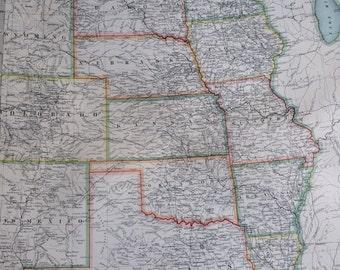 1907 UNITED STATES (central) original antique map, cartography, historical map, wall decor, home decor, W & A. K Johnston Atlas