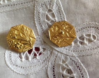 Set of two vintage buttons in brass Golden, 22mm diameter