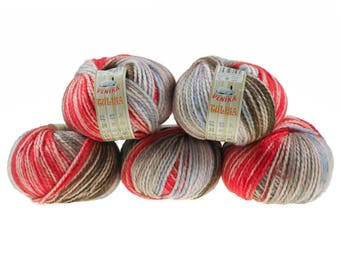 5 x 100g knitted yarn TULISA, #11 Red Sky