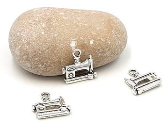 10 charms sewing machine silver matte 15mm
