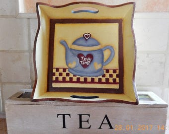 Wooden tray handpainted with teapot