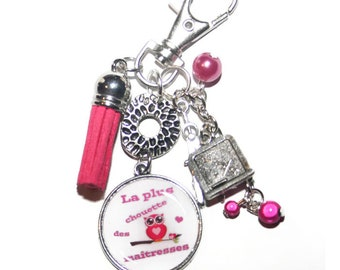 Key chain, Center the OWL bag charm, tassel