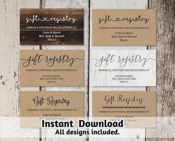 printable wedding registry card template printable rustic