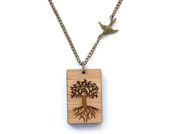 Tree of life necklace - lasercut wooden jewellery - wooden pendant - everyday necklace - casual necklace - tree of life gift