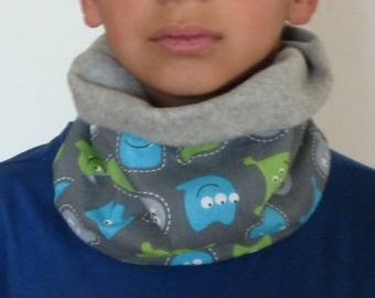 Snood neck child boy fleece gray and blue/green cotton small Monster