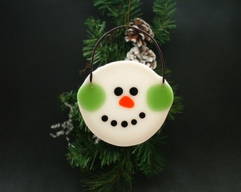 Round fused glass snowman ornament