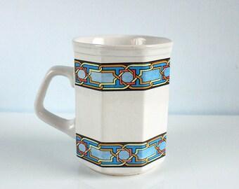 Vintage ceramic octagonal mug , white and blue art deco pattern