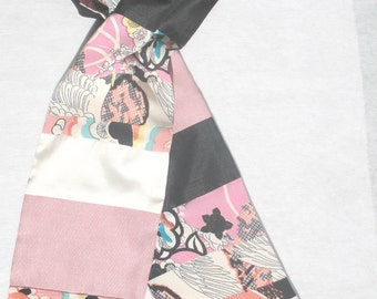 Pink Black White Scarf, Patchwork Scarf, Kimono Print, Ethnic, Asian, Pieced Scarf, Upcycled, Repurposed, OOAK Scarf, Recycled, Feminine,