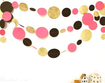 Hot Pink Gold Black White Party Garland 14feet, Hen Party Decoration, Wedding Garland, Paper Garland, Birthday Decor, Baby Room Decoration