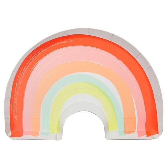 sc 1 st  Etsy & Neon Rainbow Plates 12 Meri Meri Large Paper Plates Rainbow