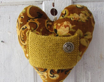 Large Quirky Heart Messenger with knitted pocket for Love notes endearing gift items HEARTAROO antique fabric recycled