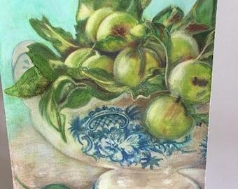 original watercolor print, watercolor print, painting, digital print, apples watercolor, green apples painting, watercolor green apples