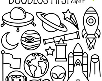 Into Space Line Art Elements Clip For Scrapbooking Card Making Cupcake Toppers Paper Crafts