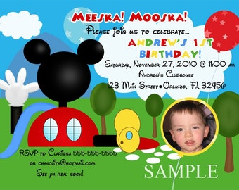 Mouse Clubhouse Birthday Party Invitation