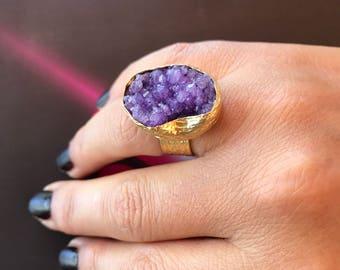Gemstone Ring , Druzy ring, Purple druzy ring, Gold Filled Ring, Adjustable ring