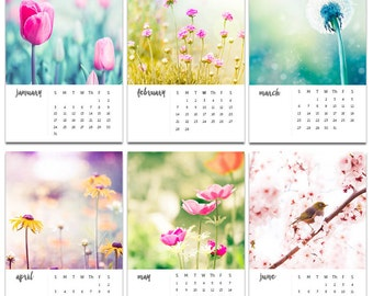 2018 calendar floral photography calendar botanical calendar 5x7 4x6 mini desk calendar with easel tulips dandelions pastel flowers nature