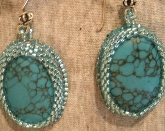 Turquoise IMIT Light Blue Hand Embroidered Beaded Dangle and Sterling Silver Earrings
