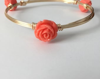 Coral Flower Wire Wrapped Bangle Bracelet