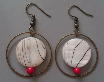 Pearls and mother of pearl earrings