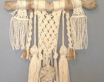 Bohemian woven wall hanging macrame on Driftwood